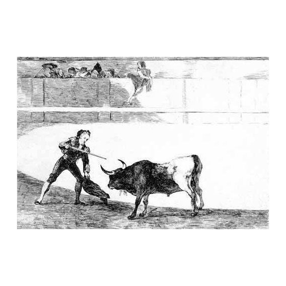 cuadros de mapas, grabados y acuarelas - Cuadro -Tauromaquia num.30: Pedro Romero matando a toro parado-