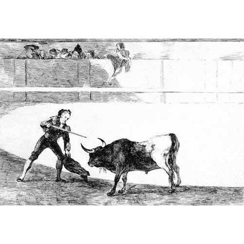 imagens de mapas, gravuras e aquarelas - Quadro -Tauromaquia num.30: Pedro Romero matando a toro parado-