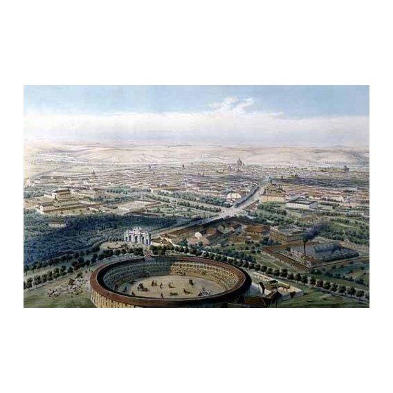 cuadros de mapas, grabados y acuarelas - Cuadro -Madrid vista aérea con la plaza de toros, 1854-