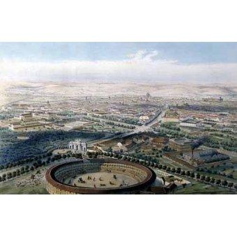 imagens de mapas, gravuras e aquarelas - Quadro -Madrid vista aérea con la plaza de toros, 1854- - Guesdon, Alfred