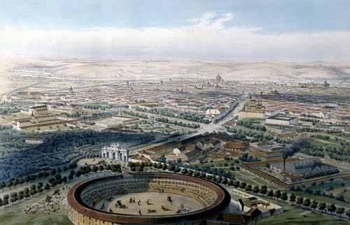imagens-de-mapas-gravuras-e-aquarelas - Quadro -Madrid vista aérea con la plaza de toros, 1854- - Guesdon, Alfred