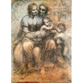 imagens de mapas, gravuras e aquarelas - Quadro -La Virgen, el Niño y Santa Ana- - Vinci, Leonardo da