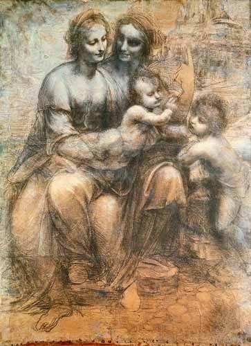 imagens-de-mapas-gravuras-e-aquarelas - Quadro -La Virgen, el Niño y Santa Ana- - Vinci, Leonardo da