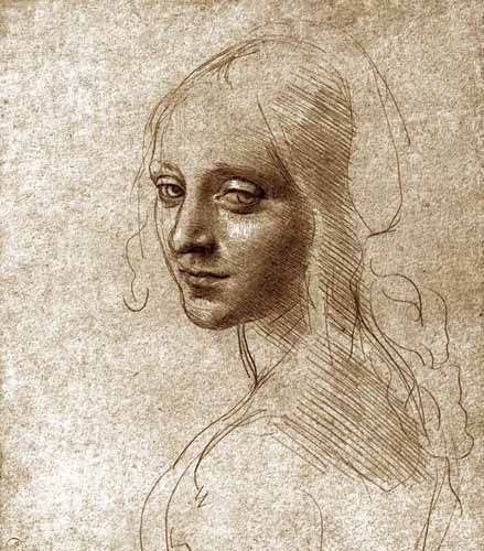 imagens-de-mapas-gravuras-e-aquarelas - Quadro -Angel face of the Virgin of the Rocks- - Vinci, Leonardo da