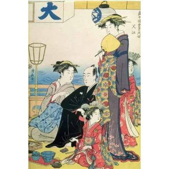 quadros étnicos e orientais - Quadro -Women of the Gay Quarters (right hand panel of diptych)- - Kiyonaga, Torii