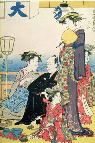 ethnic and oriental paintings - Picture -Women of the Gay Quarters (right hand panel of diptych)- - Kiyonaga, Torii
