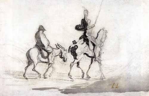 cuadros de mapas, grabados y acuarelas - Cuadro -Don Quixote and Sancho Panza, 1850- - Daumier, Honoré