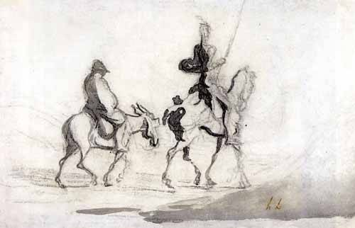 imagens-de-mapas-gravuras-e-aquarelas - Quadro -Don Quixote and Sancho Panza, 1850- - Daumier, Honoré