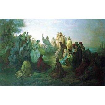imagens de mapas, gravuras e aquarelas - Quadro -Jesús predicando en la montaña- - Doré, Gustave