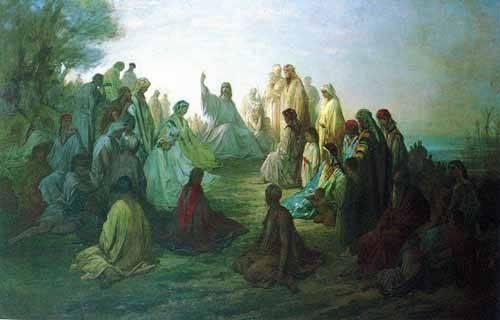 cuadros de mapas, grabados y acuarelas - Cuadro -Jesús predicando en la montaña- - Doré, Gustave