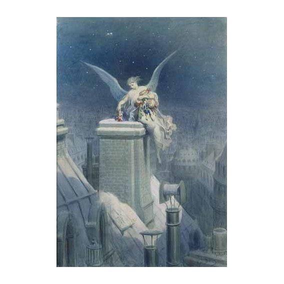 cuadros de mapas, grabados y acuarelas - Cuadro -Angel repartiendo regalos-