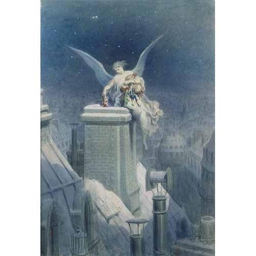 imagens de mapas, gravuras e aquarelas - Quadro -Angel repartiendo regalos-