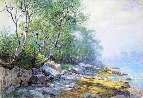 imagens-de-mapas-gravuras-e-aquarelas - Quadro -Seal Harbor Mount Desert Maine- - Haseltine, William