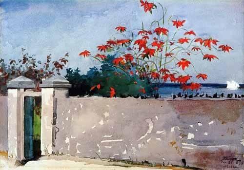 imagens-de-mapas-gravuras-e-aquarelas - Quadro -Un Muro, Nassau- - Homer, Winslow