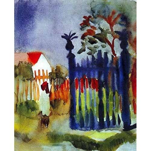cuadros de mapas, grabados y acuarelas - Cuadro -La puerta del jardín-
