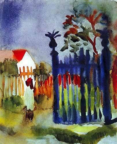 imagens-de-mapas-gravuras-e-aquarelas - Quadro -La puerta del jardín- - Macke, August