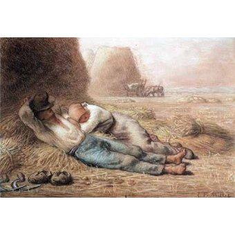 imagens de mapas, gravuras e aquarelas - Quadro -La méridienne Pastel et crayon noir, 1866 - - Millet, Jean François