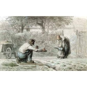 imagens de mapas, gravuras e aquarelas - Quadro -Los primeros pasos, 1859- - Millet, Jean François