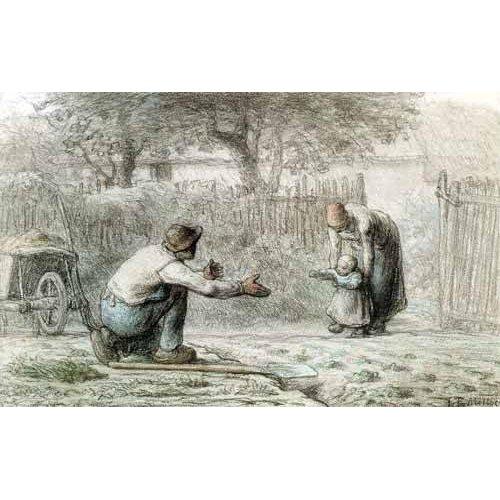 cuadros de mapas, grabados y acuarelas - Cuadro -Los primeros pasos, 1859-