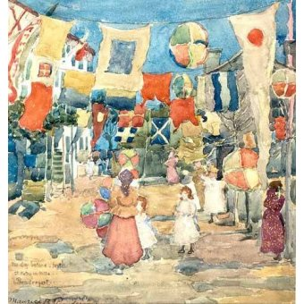 imagens de mapas, gravuras e aquarelas - Quadro -Fiesta Venice, S. Pietro in Volta- - Prendergast, Maurice