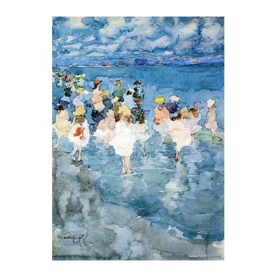 cuadros de mapas, grabados y acuarelas - Cuadro -Niños en la playa-