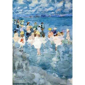 imagens de mapas, gravuras e aquarelas - Quadro -Niños en la playa- - Prendergast, Maurice