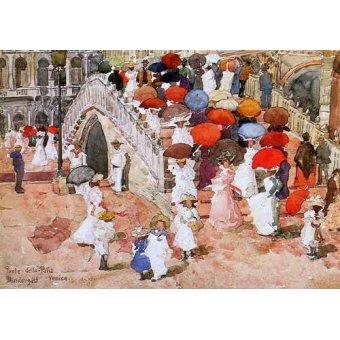 imagens de mapas, gravuras e aquarelas - Quadro -Ponte della Paglia- - Prendergast, Maurice