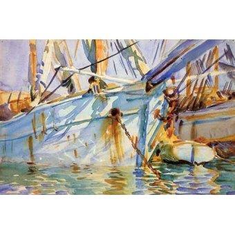 imagens de mapas, gravuras e aquarelas - Quadro -En un puerto Levantino- - Sargent, John Singer