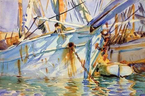 imagens-de-mapas-gravuras-e-aquarelas - Quadro -En un puerto Levantino- - Sargent, John Singer