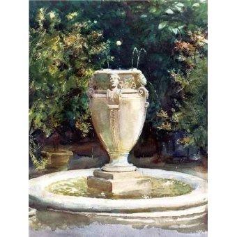 imagens de mapas, gravuras e aquarelas - Quadro -Vase Fountain Pocantico- - Sargent, John Singer