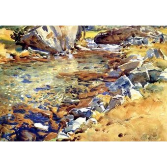 - Quadro -Brook among Rocks- - Sargent, John Singer