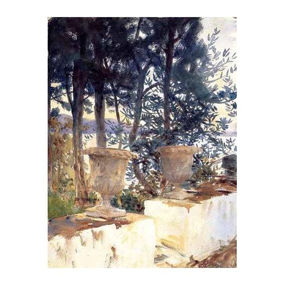 imagens de mapas, gravuras e aquarelas - Quadro -Una terraza en Corfu-