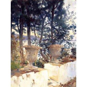 imagens de mapas, gravuras e aquarelas - Quadro -Una terraza en Corfu- - Sargent, John Singer