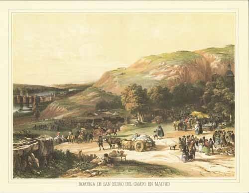 imagens-de-mapas-gravuras-e-aquarelas - Quadro -Romería de San Isidro del Campo en Madrid- - Villaamil, Jenaro Perez de