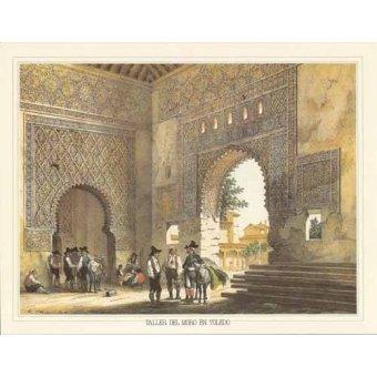 imagens de mapas, gravuras e aquarelas - Quadro -Taller del moro en Toledo- - Villaamil, Jenaro Perez de