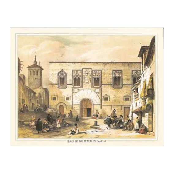 imagens de mapas, gravuras e aquarelas - Quadro -Plaza de los Momos en Zamora-