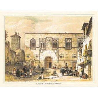 imagens de mapas, gravuras e aquarelas - Quadro -Plaza de los Momos en Zamora- - Villaamil, Jenaro Perez de