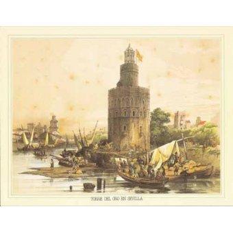 imagens de mapas, gravuras e aquarelas - Quadro -Torre del Oro en Sevilla- - Villaamil, Jenaro Perez de