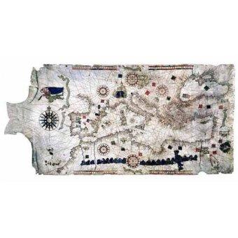 imagens de mapas, gravuras e aquarelas - Quadro -Mapa del Mediterráneo- sobre piel de carnero- MAPAS - Mapas antiguos