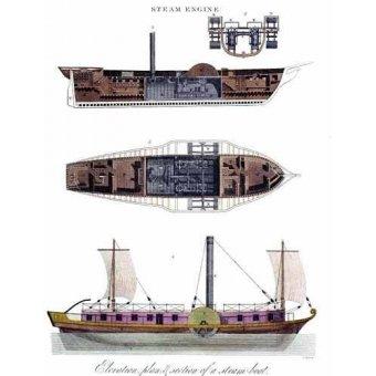 imagens de mapas, gravuras e aquarelas - Quadro -Elevación, plano y sección de un barco a vapor - - _Anónimo Americano