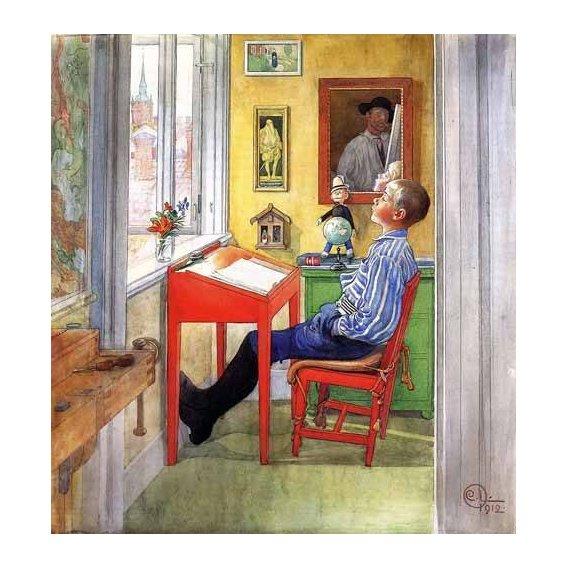 imagens para crianças - Quadro -Esbjorn haciendo sus deberes-