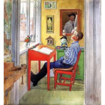 quadros infantis - Quadro -Esbjorn haciendo sus deberes- - Larsson, Carl