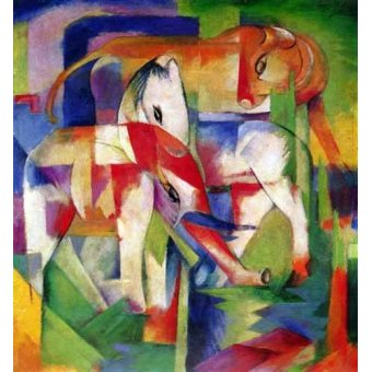 quadros infantis - Quadro -Elefante, caballo y vaca- - Marc, Franz