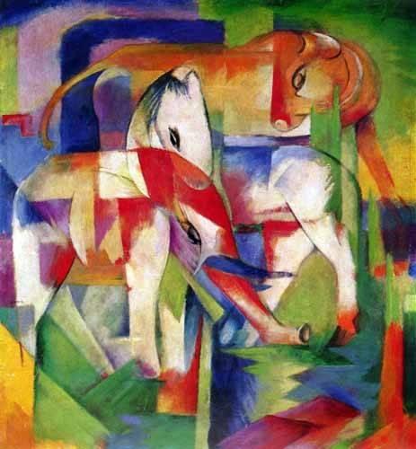 quadros-infantis - Quadro -Elefante, caballo y vaca- - Marc, Franz