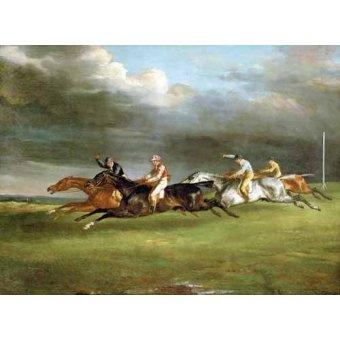 quadros de animais - Quadro -Carrera de caballos en Epsom- - Gericault, Theodore