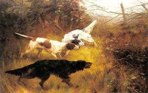 quadros-de-animais - Quadro -Three Pointers in a Landscape- - Blinks, Thomas