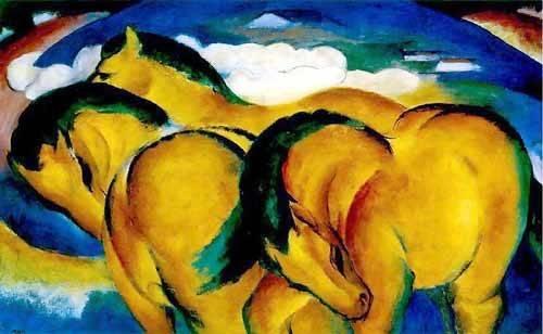 quadros-de-animais - Quadro -Caballitos amarillos- - Marc, Franz