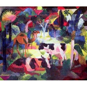 quadros de animais - Quadro -Paisaje con vacas y camello- - Macke, August