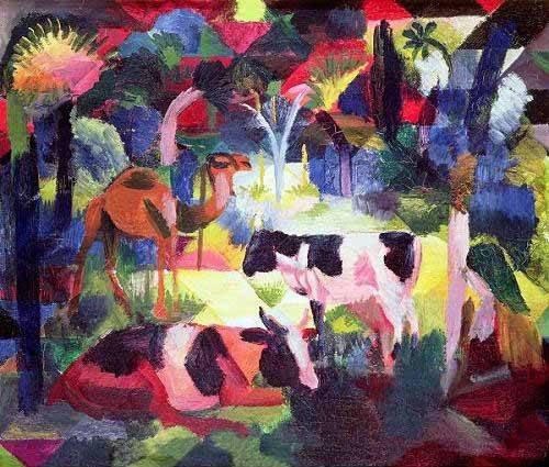 quadros-de-animais - Quadro -Paisaje con vacas y camello- - Macke, August