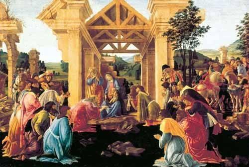 quadros-religiosos - Quadro -Adoración de los Reyes Magos- - Botticelli, Alessandro